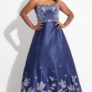 NWT! Beaded Strapless Gown